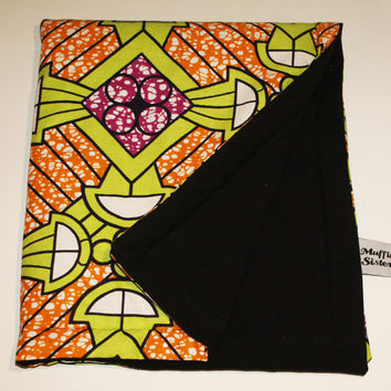 Baby ankara jersey blanket double sided quilt soft African wrap