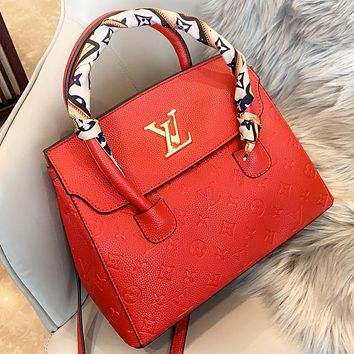LV Louis vuitton  New fashion monogram print leather shopping and leisure shoulder bag crossbody bag handbag Red