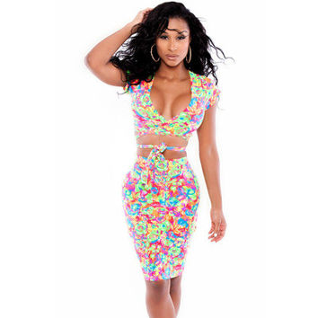 2016 Trending Fashion Women Floral Printed Sexy Floral Printed Short Sleeve Two-Piece V Neck Nightclub Clubbing Party Erotic One Piece Dress _ 2812