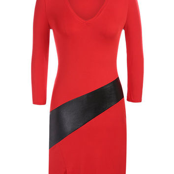 Black and Red V-neck Long Sleeve Pencil Bodycon Mini Slit Dress