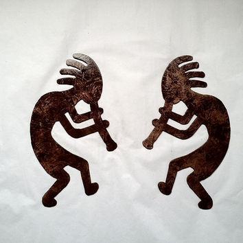 Kokopelli Dancers Set of 2 Metal Wall Art Decor Accents Antique Copper Color