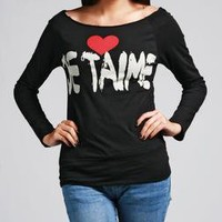 Je Taime Off Shoulder Sweat Shirt - New Arrivals - FEATURES A'GACI