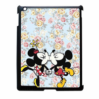 Mickey Kiss Minnie Disney Flowers iPad 4 Case