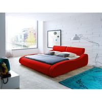 Diamond Sofa Aruba Bed in Red Fabric with Click-Clack Head Rests