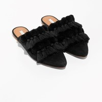 & Other Stories | Tassel Suede Slippers | Black