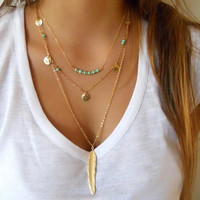 Turquoise Necklace Feather Chocker +Gift Box