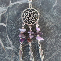 BUY 2 GET 3rd FREE Amethyst  Dream Catcher Necklace  / Dreamcatcher  Necklace Tribal /Boho Jewelry