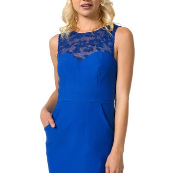 Teeze Me | Sleeveless Lace Illusion Pocket Skirt Dress | Royal