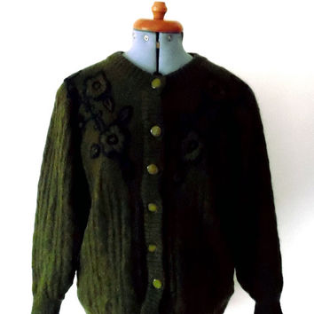 Floral embroidered mohair cardigan / blue / mossy green / chunky / lined / vintage / 1980s / knitted jacket / wool / cable knit cardigan