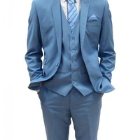 Mens designer Sky Blue Three Piece Suit (Rex)