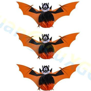Halloween decorations pumpkin ghost bat parachute paper Honeycomb ball Haunted house Bar club house decoration props