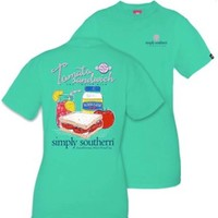 "Simply Southern ""Tomato Sandwich"" Short Sleeve- Seafoam"
