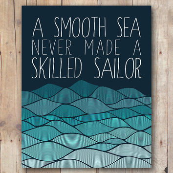 Smooth sea quote printable, sailor quote, sailing quote art, sailing art, printable art, boys room decor, boy wall art printable quote