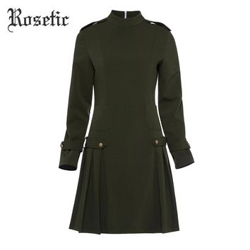 Vintage Casual Dress A-Line Fashion Dress Office Lady Elegant Wild Street Military Sexy Retro Gothic Dress
