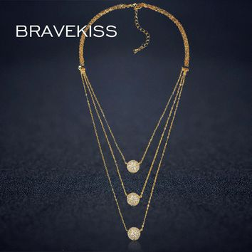 BRAVEKISS vintage multi layer chain choker necklaces pendants women cz crystal collares mujer colgantes mujer moda jewel BUN0230