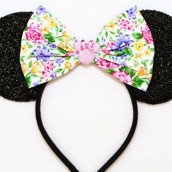 Alice Tea Party - Black Sparkly Minnie Ears with Flower Bow
