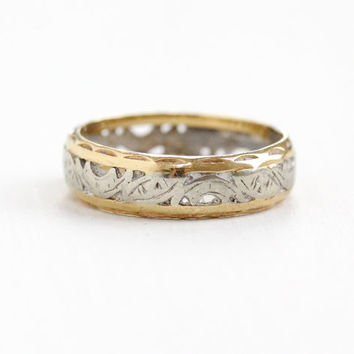Vintage 14k Yellow & White Gold Wedding Band Ring - Mid-Century 1940s 1950s Fine Eternity Design Jewelry
