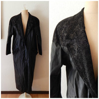 Vintage Womens 80s Black Leather Lace Print Trench Coat Large