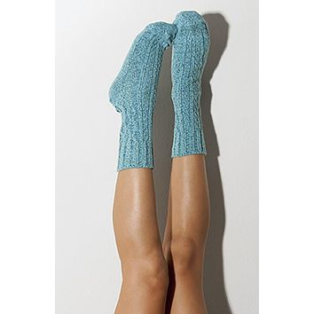 Biscay Bay Marled Cable Knit Crew Socks