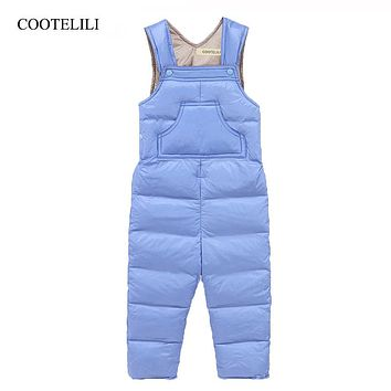 COOTELILI 70-110cm 80% Down Winter Full Length Baby Pants Baby Boys Girls Clothes Kids Trousers Snowsuit Overalls Clothing