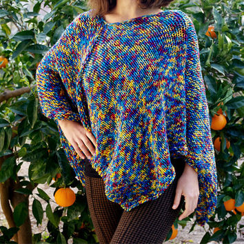 Vegan Poncho, Knitted Ponchos, Poncho Sweater, Women Accessories, Hand Knit Poncho,  Boho Poncho, Asymetrical Sweater,  Colorful Poncho