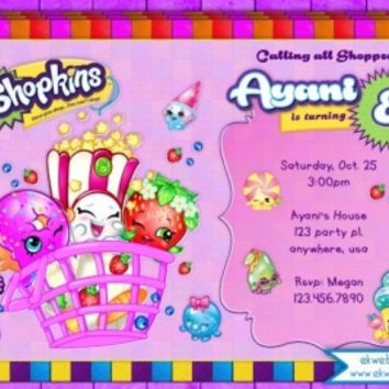 image regarding Shopkins Printable Invitations named Shopkins Birthday Invitation - printable towards