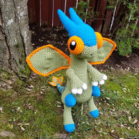 Pokemon Inspired: Flygon Amigurumi (Crochet Plushie/Plush Toy) in normal or shiny colors! - MADE TO ORDER!