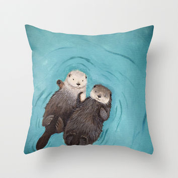 Otterly Romantic - Otters Holding Hands Throw Pillow by When Guinea Pigs Fly