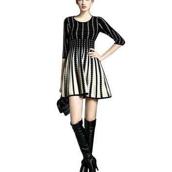 Retro Women long knitted The sweater Dress female 2015 New fashion Slim The sweater Patterns tutu haute couture The sweater