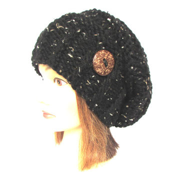 Slouchy beanie hat black tweed slouch hat chunky knit beanies irish knitted hat with button for women adult teenager by Mary Johanna Gorman
