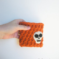 Crochet Coin Purse Wallet in Pumpkin Orange with Skull applique, zipper closure, ready to ship.