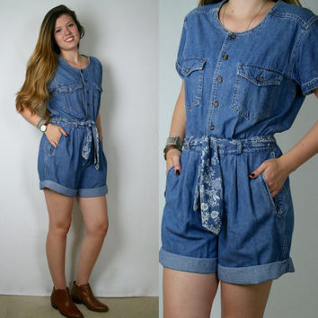 Denim ROMPER Shorts Jean // Medium //