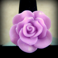 Ring - Radiant Orchid Color Rose on Antiqued Brass/Bronze Adjustable Ring Base - 2014 Color of the Year Ring
