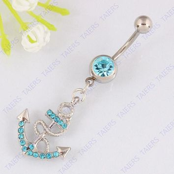 ESBONEJ OPAL FERRIE - Anchor Belly button ring navel jewelry 14G 316L surgical steel bar Nickel-free