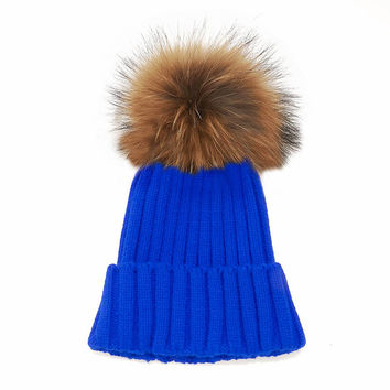 LUX FUR POM BEANIE ELECTRIC BLUE