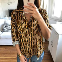 Givenchy Autumn new fashion pattern print loose long sleeve top shirt women Yellow