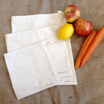 Set of 3 reusable produce bags, bulk bags, reusable bags, grain bags, drawstring pouch, cotton muslin bags, farmers market bags, handmade