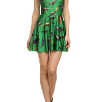 Dinosaur Skater Dress - Green