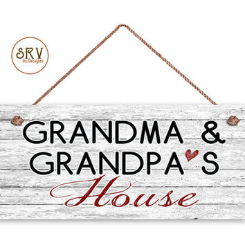 "Grandma and Grandpa's House Sign, Where Memories Are Made, Distressed Style w/Red Heart, Gift For Grandparents, 6"" x 14"" Sign, Made To Order"