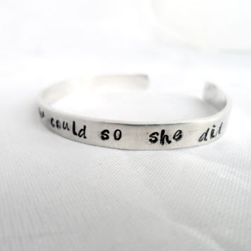 Personalized HAND STAMPED BRACELET - She Believed she could so she did