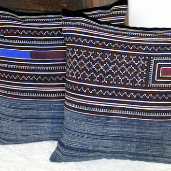 Vintage Hmong Embroidery And Indigo Batik 16 Inch Cushion Cover, Boho Pillows, Free Worldwide Shipping
