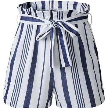Sailing Away Vertical Stripe Pattern High Waist Ruffle Tie Belt Shorts - 3 Colors Available