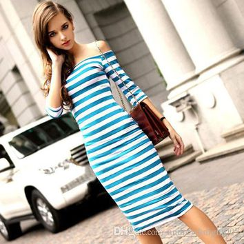 DHL Women Autumn Sexy Dress Off Shoulder Summer Vestidos Casual Party Bodycon Ukraine Dresses Cotton Striped Wrap Dress DK1712LY