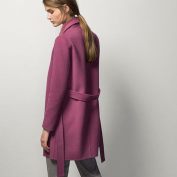 COAT WITH BELT - Coats - WOMEN - Spain - Massimo Dutti