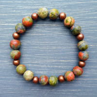 Yogi Bracelet - Frosted Unakite & Antique Copper