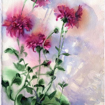 Purple flowers watercolor - original purple asters painting paper