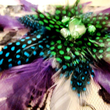 Feather Fascinator with Purple and Green by FeatherFunded