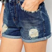 ASOS Denim Mom Shorts in Dark Wash With Rips