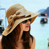 New Summer Large Brim Hat For Women Floppy Straw Cap Beach Sun Hat Bow Wide Large Brim Cloche Bowler Bowknot hats