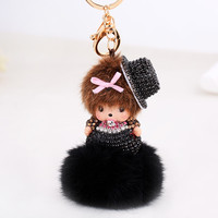 Monchichi Keychain Girl Monchhichi Sleutelhanger New Crystal Fur Ball Keychain Cute Key Chain  Pom Pom Women Key Holder Bague